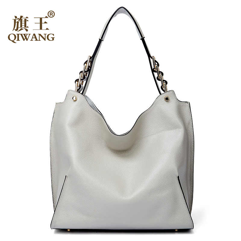 4152b26ad194 Qiwang Brand genuine leather women large shoulder bag female high quality hobos  bag with tassel women