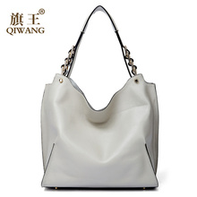 Qiwang Brand genuine leather women large shoulder bag female high quality hobos bag with tassel women handbag full Grain leather