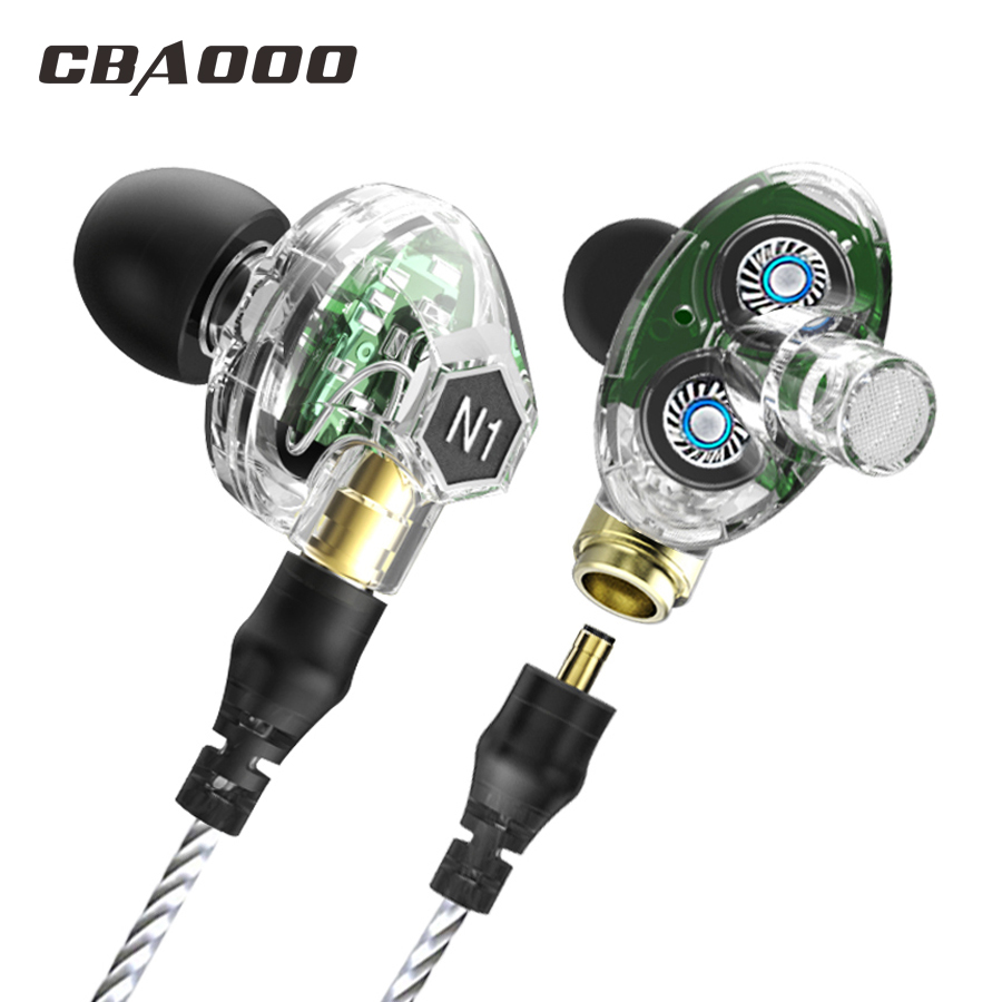 N1 Bluetooth earphone wireless Double Unit Earphone bluetooth Two Unit Driver Earbuds HIFI Bass Subwoofer Headset with Mic transparent color double dynamic earphone 2 unit driver hifi bass with microphone audio cable headphone high quality headset
