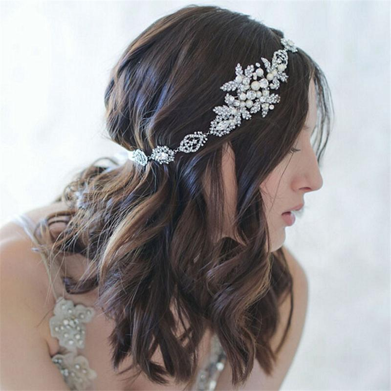 Head Chain Flower Tiara Pearl Hair Jewelry Headband Wedding Hair Accessories Bridal Headpiece Bijoux De Tete Cheveux WIGO0642