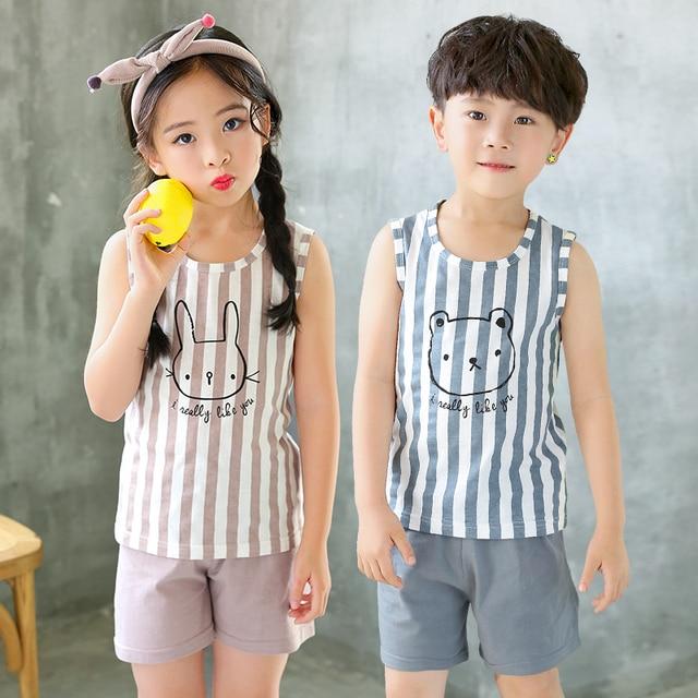 Kids Clothes Summer Children Pajamas Sets Baby Girls Boys Cartoon Sleepwear Cotton Vest+Pants Clothing Suit Toddler Pyjamas Kids