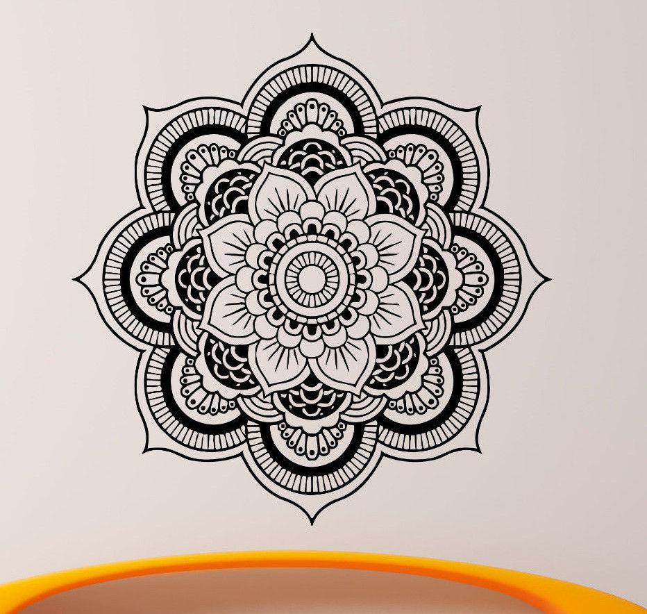 Kvalitní zdivo Decals Mandala Jóga ornament Indický Buddha OM Symnol Decal Vinyl Samolepka Lotus Flower Domácí Dekorace Nástěnné CW-2