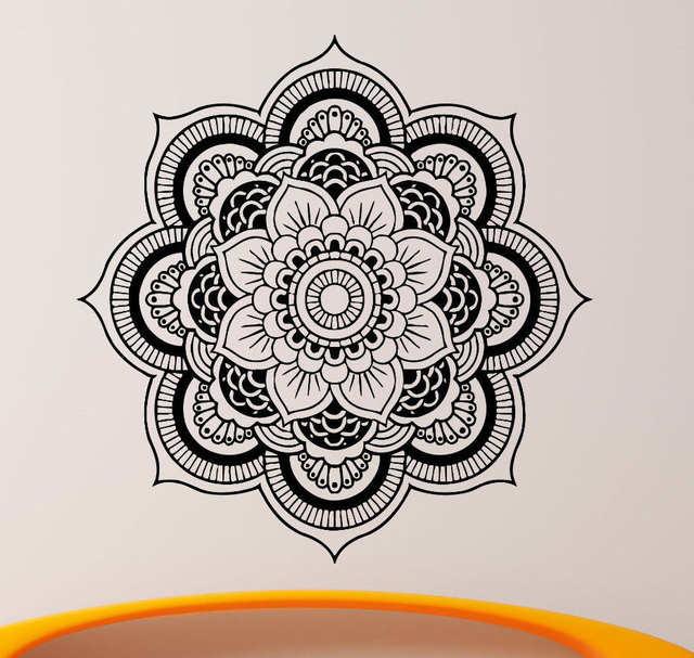 Us 7 92 20 Off Quality Wall Decals Mandala Yoga Ornament Indian Buddha Om Symnol Decal Vinyl Sticker Lotus Flower Home Decoration Murals Cw 2 In