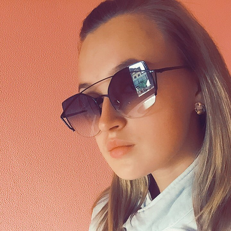 Sweet CITRUS Cat eye Sunglasses Women Luxury Brand Designer Metal Original Sun Glasses For Female vintage Oculos De Sol Feminino 1