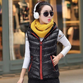 women new winter fashion Slim candy color vest down cotton vest big yards female thin coat waistcoat vestidos