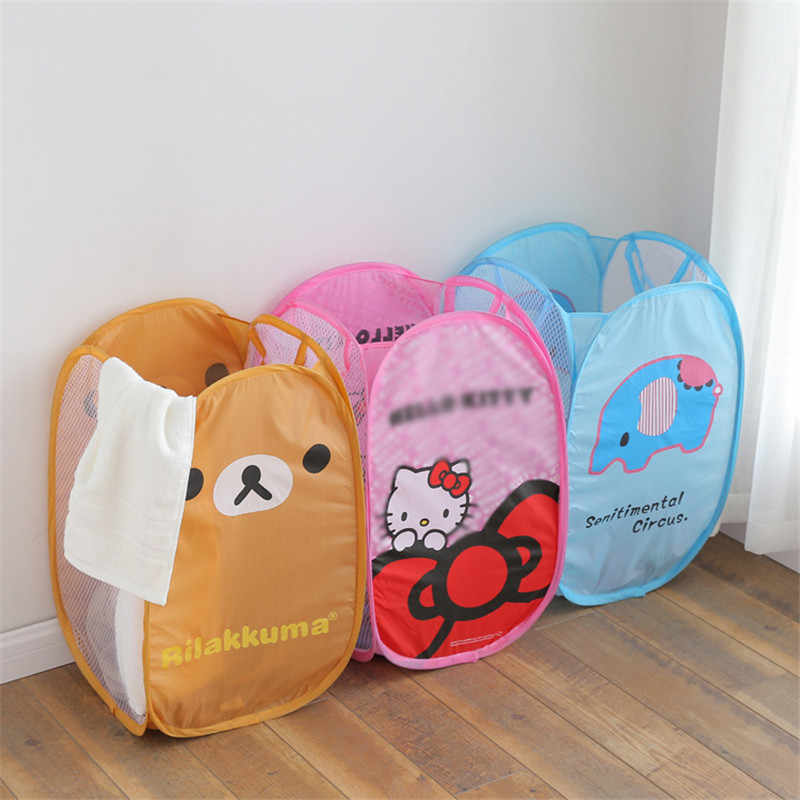 Toys Laundry Nylon Large Capacity Storage Basket Cartoon Printed Storage Basket Folding Bucket Dirty Clothes Sundry Dirty Basket