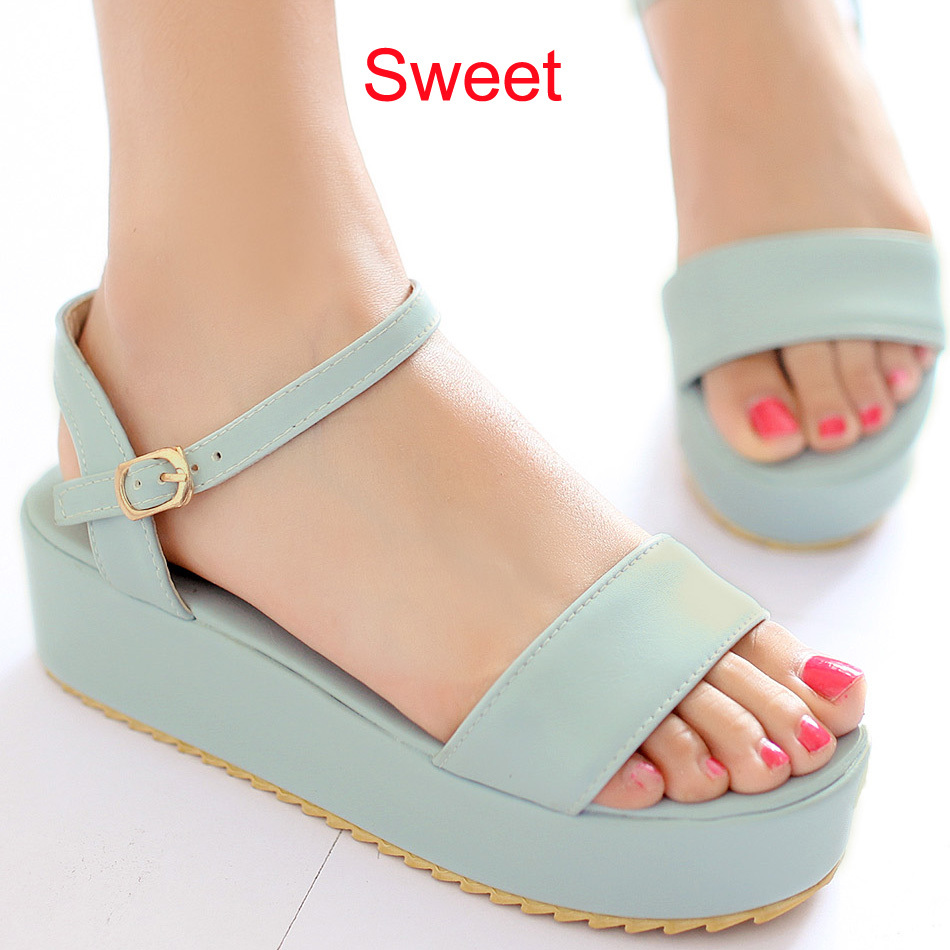 Sweet candy color flat platform thick high heel sandals for women sweet blue charming purple size