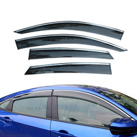 For Honda Civic 2016 2017 2018 Car Accessories Window Visor Sun Rain Wind Deflector Awning Shield Vent Guard Shade Cover Trim
