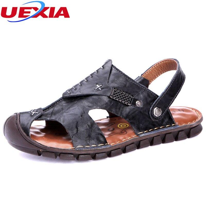 UEXIA 2018 Handmade Men Sandals Summer Leather Fashion Beach Male Shoes High Quality Casual Black Soft Men Beach Sandals Shoes