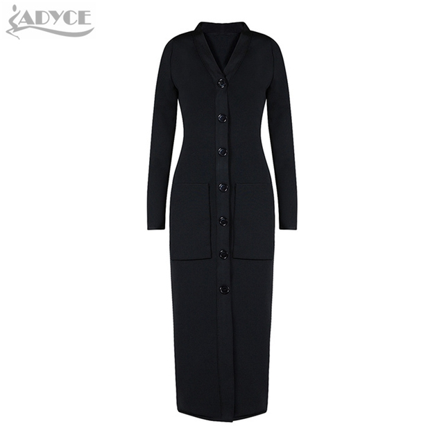 2016 winter new women coats bandage Coat black long sleeve Pockets celebrity slim trench coat runway long maxi coats In Stock