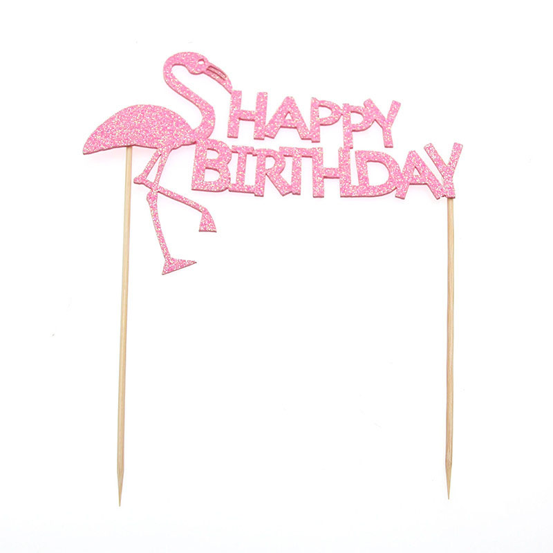 WEIGAO 1Set Birthday Party Supplies Pink Flamingo Cake Topper Kids Birthday Party Decorations Baby Shower Cake Decor DIY Supply