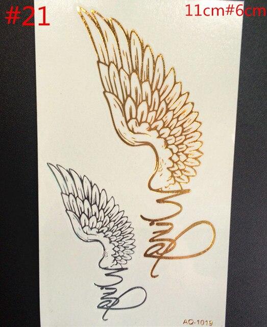 Us 0 45 A New Temporary Jewelry Flash Metal Gold Wings Tattoo Tattoo Body Art Diy Flash Waterproof Temporary Tattoo Paster In Temporary Tattoos From