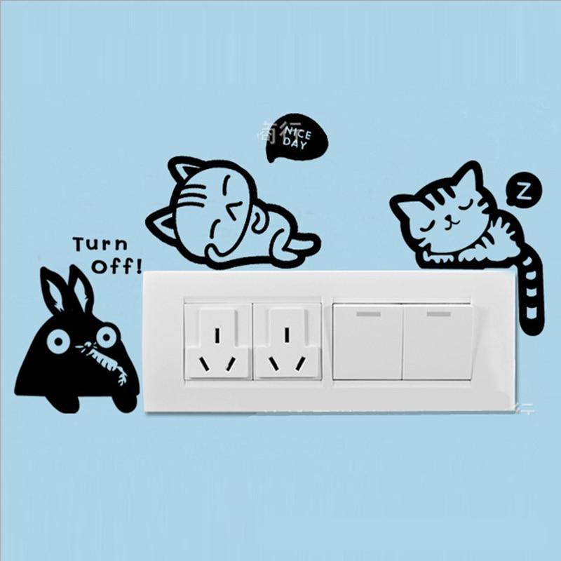 <font><b>New</b></font> <font><b>Arrive</b></font> 1pcs/<font><b>lot</b></font> <font><b>Hot</b></font> <font><b>Sale</b></font> DIY Cat Dog Cartoon Style Switch Sticker Model Creative Toys Room Decoration <font><b>New</b></font> Year Gifts
