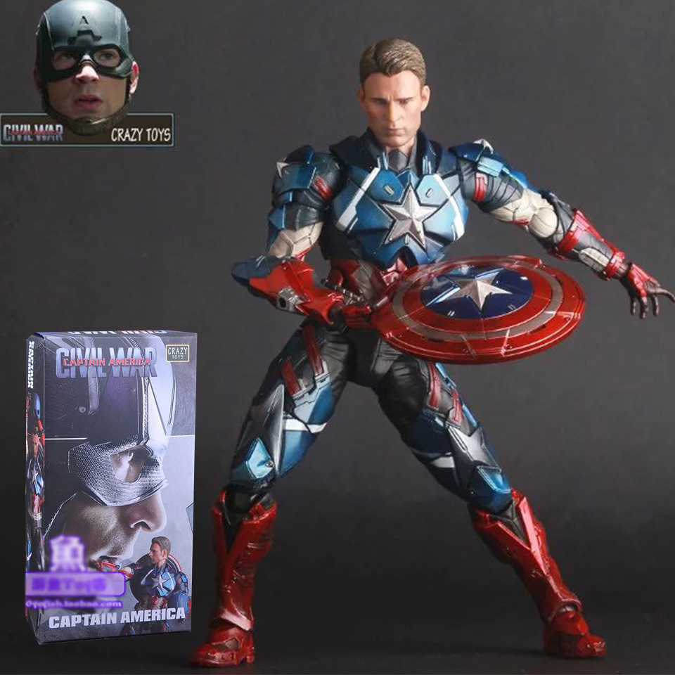 SAINTGI Captain America Avengers Action Figures Change Hand Hot Toys Super Hero Marvel Iron Man Marvel's  Model Toys Gifts 25cm captain america civil war iron man 618 q version 10cm nendoroid pvc action figures model collectible toys