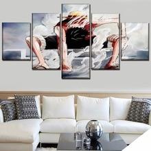 One Set  Framework Or Unframed 5 Panel Anime Piece Monkey D. Luffy Poster Canvas HD Print Painting Modern Wall Art Decorativ