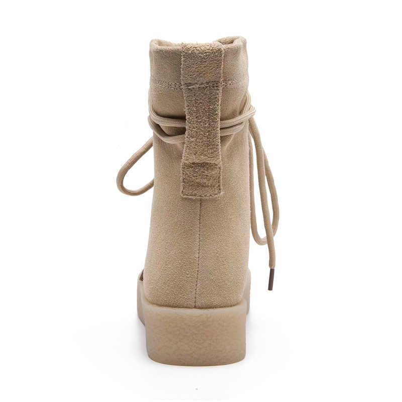 ... Новые зимние сапоги из нубука, женские модные сапоги с круглым носком  на шнуровке, высокие ... c50f05052f9