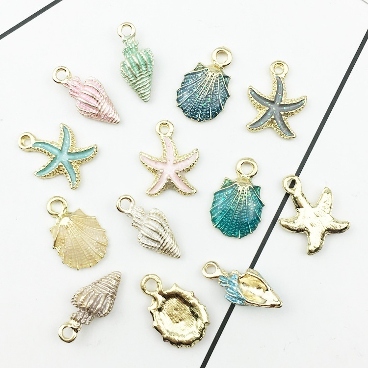 10pcs DIY Ocean Sea Shell Alloy Charms Pendants Necklace Jewelry Making Crafts