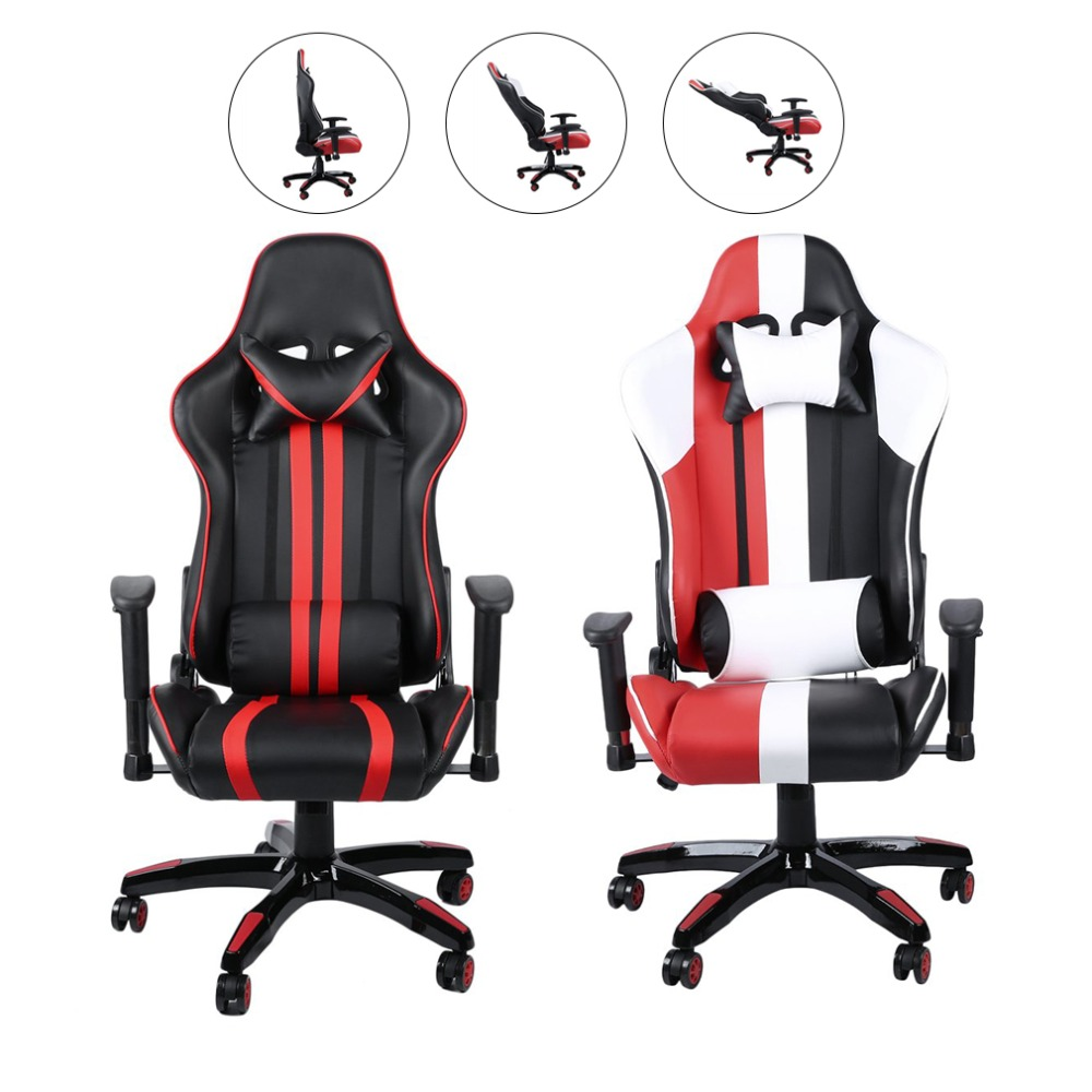 все цены на Ergonomic Revolving Leather Executive Computer Chair Adjustable Home Office Racing Chair With Padded Armrest онлайн