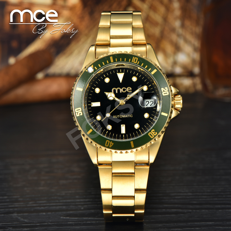 MCE Mens Branded Watches Expensive Automatic watch font b Mechanical b font Stainless Steel Gold Watch