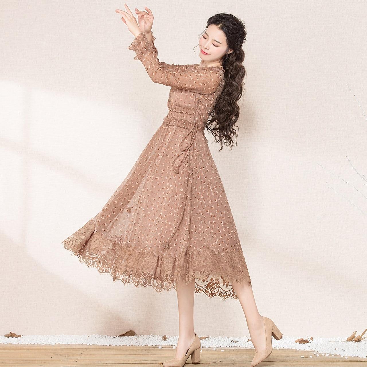 À O Nouveau Manches Femme Longues Soie Color Mousseline De Mode Photo Robe Automne Cou Impression Moyen Robes Ruches long qq8wRtH