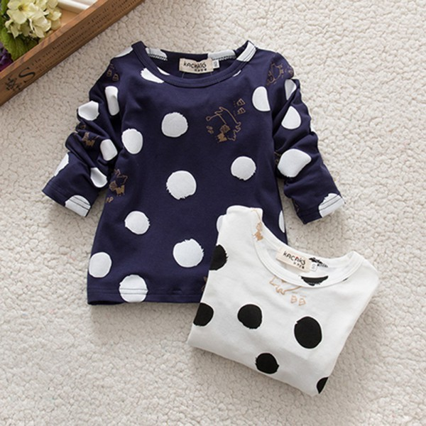 Kids Baby Girls Boys Unisex Polka Dots Long Sleeve Tops T-Shirt Cotton Basic Tees Clothing