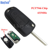 OkeyTech Flip Remote Key Fob 3 Button 433MHz PCF7946 Chip For Vauxhall Opel Vectra C Signum