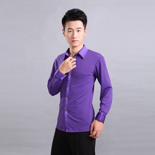 High-grade male Latin dance costumes modern dance performance clothing new long-sleeved shirt with elastic purple