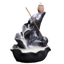 Free Shipping Wholesale Ceramic Incense Burner Stove Sandalwood Incense Buddha Tea Dust Glaze Smoke Backflow Censer цена