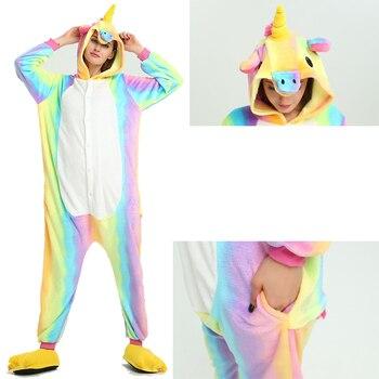 d059f913d54e Зимние пижамы с животными для взрослых, зимние фланелевые пижамы с рисунком  единорога, Пижама Kigurumi Unicornio, радужные пижамы с единорогом