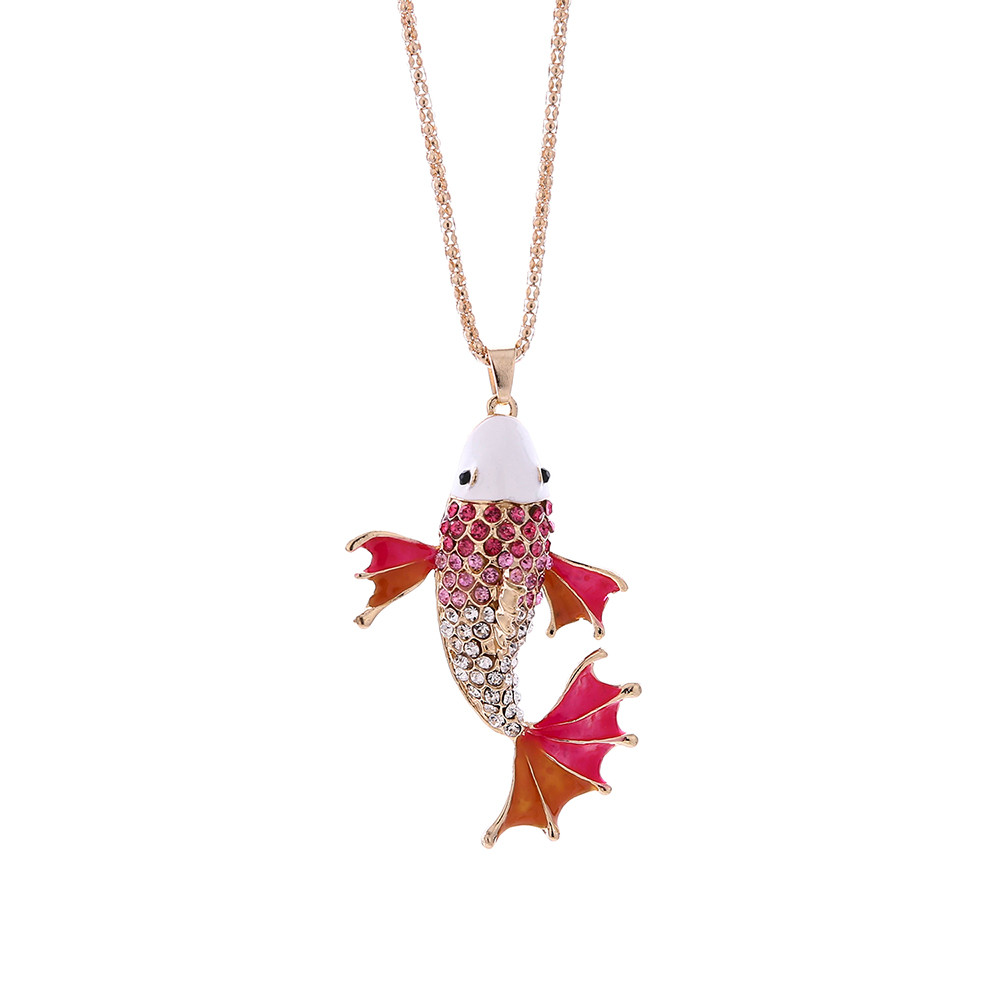 OTOKY 2018 Hot Sale 1pc Fashion Women Charm Crystal Vintage Goldfish Cute Pendant Sweater Necklace Dropshipping Apr12
