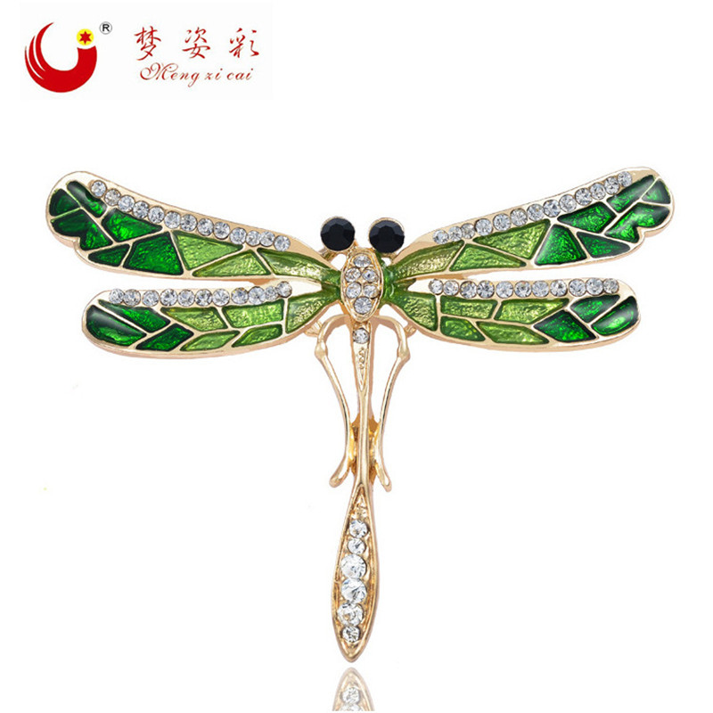 MZC Bijoux Green Crystal Dragonfly Brooch For Women Female Insect Rhinestone Brooches Channel Pin Broches Costume Jewelry