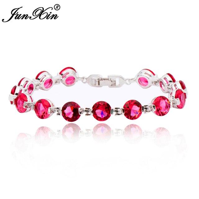 Charm Women Fashion Bracelets 10KT White Gold Filled AAA Zircon Stone Bracelet Rose Red Color Best Sellling BR0118