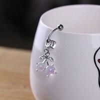 1PC Steel Fake Opal Stone Navel Belly Button Rings Piercing Fashion Nombril Ombligo For Women Cherry