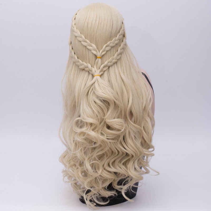 Хэллоуин парик для костюмированной вечеринки длинные косички волнистые Дейенерис Таргариен фильм персонажа AAAAAA бесплатная доставка