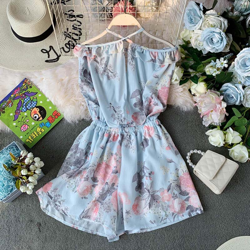 Nicemix Women Summer Short Jumpsuits Deep V Nice Backless Off Shoulder Loose Playsuit Floral Printed Rompers Bodysuit 2019 New