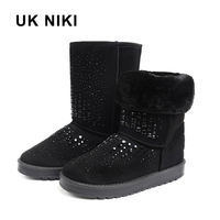 UKNIKI Black Short Plush Shoes Women Boots Winter Snow Boots Mid Calf Boots