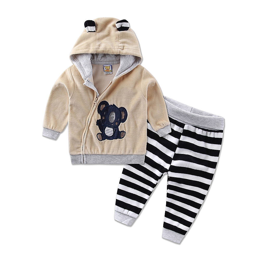 Image 2 - 2019 new hot children sports girls boys set velvet casual winter spring warm hooded zipper long sleeve outfits baby kid clothes-in Clothing Sets from Mother & Kids