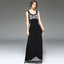Summer dress 2017 mulheres bordado floral elegante bohemian praia mulheres sexy club party dress boho maxi vestidos longos pretos