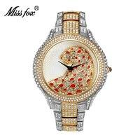 Miss Fox Casual Watch Women Rhinestone Gold Ladies Pink Watches Quartz Diamond Tiger Girls Famous Female