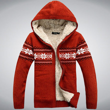 Winter Thicken Fleece Wool Man Sweater Hooded Winter Cardigan Overcoat Casual New Fashion Cotton Red Blue Size M L XL XXL A0432