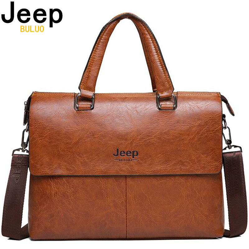 JEEP BULUO Mens Briefcase Fashion Handbags For Man Sacoche Homme  Marque Male leather Bag For A4 Documents 13 Laptop 6015Briefcases