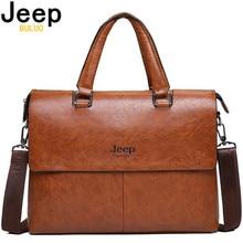 Maletín de hombre JEEP BULUO, bolsos de moda para hombre Sacoche Homme, Bolso de piel de marca para documentos A4, portátil de 13 pulgadas 6015