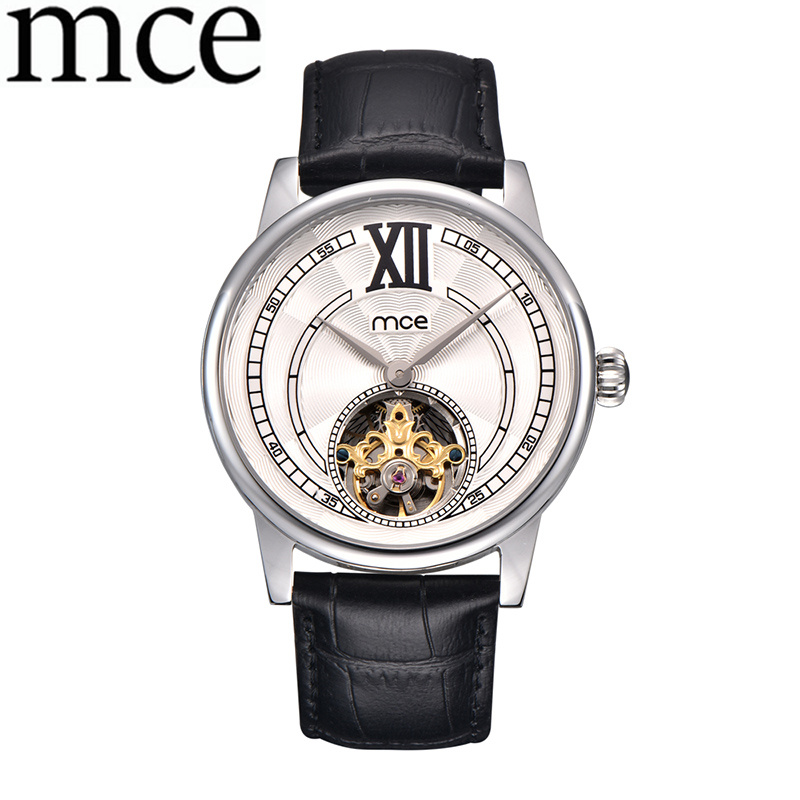 лучшая цена MCE Casual Men Watch Men Business Skeleton Automatic Mechanical Watches Leather Band Men Wrist Watch Relogio Masculino