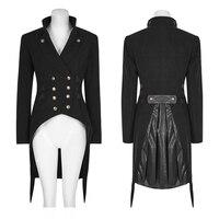 PUNK RAVE Women Punk Military Uniform Jacket Gothic Black Tailcoat Steampunk Swallow Tail Worsted Jacket Evening Party Jacket