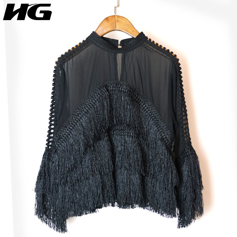 [HG] 2018 Spring New Korea Women Tassel Stand Collar Perspective   Shirts   Female Full Sleeve Hollow Out Loose   Blouses   XWW1976