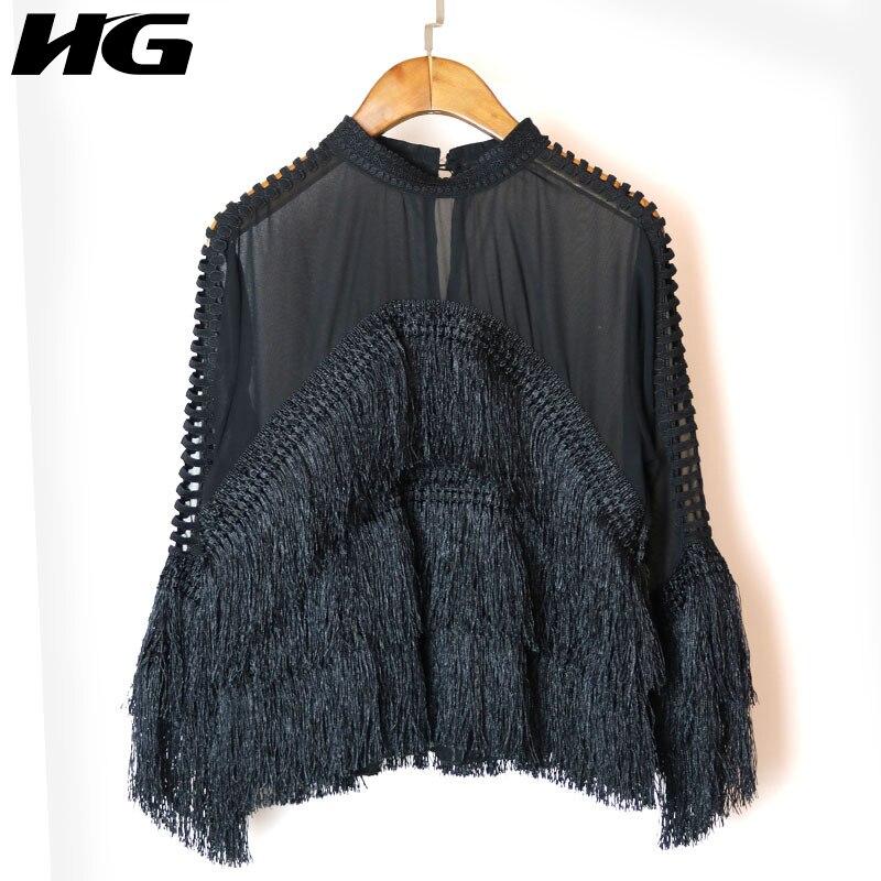 [HG] 2018 Весна Новая Корея Для женщин кисточкой Стенд воротник Кружевная блуза женские длинный рукав выдалбливают Свободные блузки XWW1976
