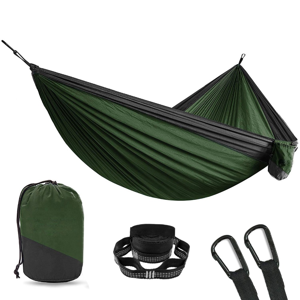 Furniture Genteel Acehmks Two Person Camping Hammock Nylon Fabric Pure Colour Outdoor Furniture Swing For Adults Portable Folding Hammock Latest Fashion