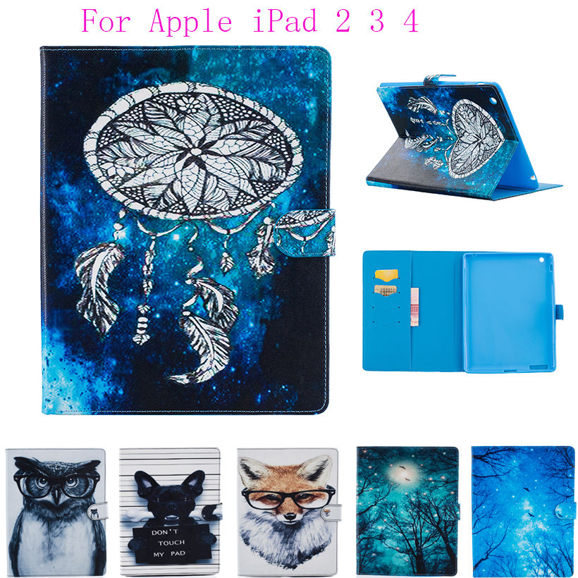 For Apple iPad 2 3 4 9.7 inch Case Cover Tablet Cartoon Animals Print Case Soft TPU+PU Leather Skin Stand Protector Shell Funda for ipad mini4 cover high quality soft tpu rubber back case for ipad mini 4 silicone back cover semi transparent case shell skin