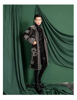 real men Asia size black baroque embroidery beading event/red carpet/stars/luxury long coat/stage performance/studio/dance/club - DISCOUNT ITEM  0% OFF All Category