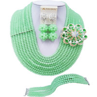 ACZUV Mint Green Crystal Beads African Necklace Nigerian Wedding Party Jewelry Sets 10C DS012